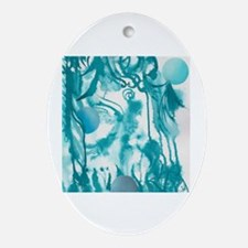 Cute Teal blue Oval Ornament