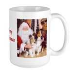 Sheltie Christmas with Santa Large Mug