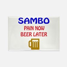 Sambo Pain Now Beer Later Rectangle Magnet