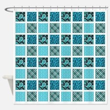 BLUE CRAZY QUILT Shower Curtain