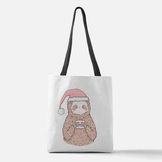 Santa Sloth Hipster Polyester Tote Bag