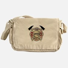 Maltese Cross with American Flag bac Messenger Bag