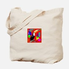 Red Abstract Toco Tucan by Wendy C. Allen Tote Bag