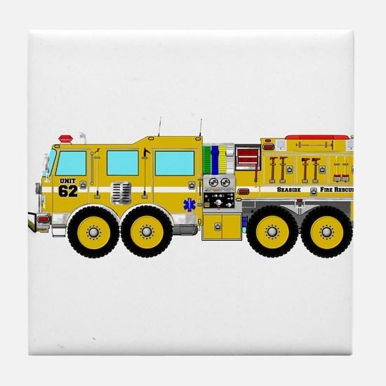 Fire Truck - Concept wild land yellow Tile Coaster