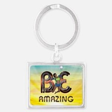 Be Amazing Volleyball Landscape Keychain