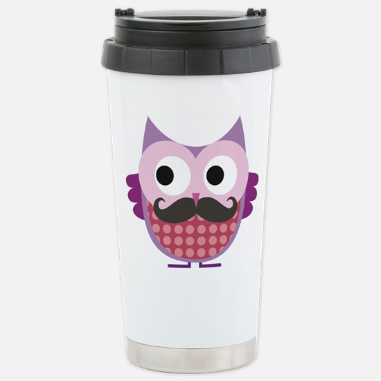 I mustache you....whoo Stainless Steel Travel Mug
