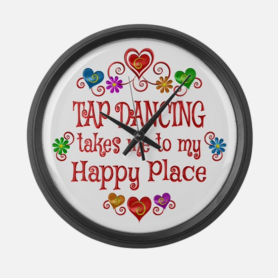 Tap Dancing Happy Place Large Wall Clock