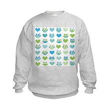 Owls hearts blue green Sweatshirt