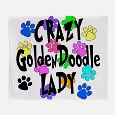 Crazy Goldenddoodle Lady Throw Blanket