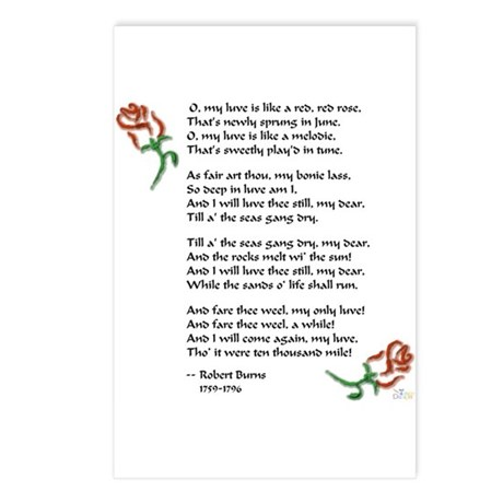 Red, Red Rose Postcards (Package of 8)