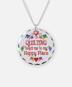 Quilting Happy Place Necklace Circle Charm