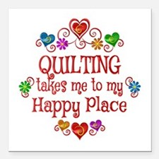 "Quilting Happy Place Square Car Magnet 3"" x 3"""