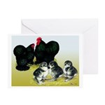 Black Cochin Family Greeting Cards (Pk of 10)