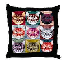 9 Cat Faces Throw Pillow