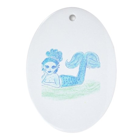 Blue Mermaid by Wendy C. Allen Oval Ornament