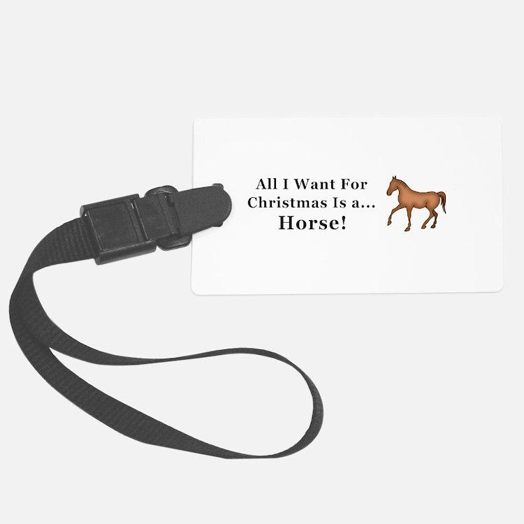 Christmas Horse Luggage Tag