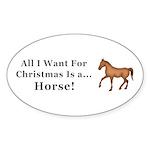Christmas Horse Sticker (Oval 10 pk)