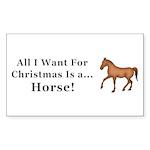 Christmas Horse Sticker (Rectangle 10 pk)