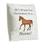 Christmas Horse Burlap Throw Pillow