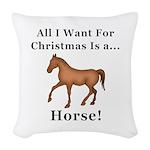 Christmas Horse Woven Throw Pillow