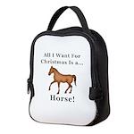 Christmas Horse Neoprene Lunch Bag