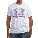 Purple Birthday Bunnies Fitted T-Shirt