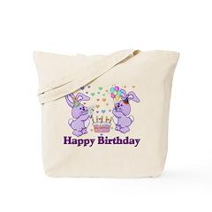 Purple Birthday Bunnies Tote Bag