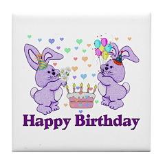 Purple Birthday Bunnies Tile Coaster
