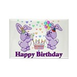 Purple Birthday Bunnies Rectangle Magnet (100 pack