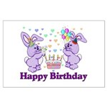 Purple Birthday Bunnies Large Poster