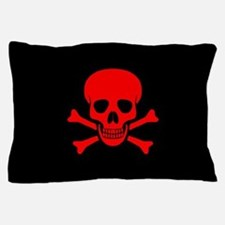 Red Skull and Crossbones Pillow Case
