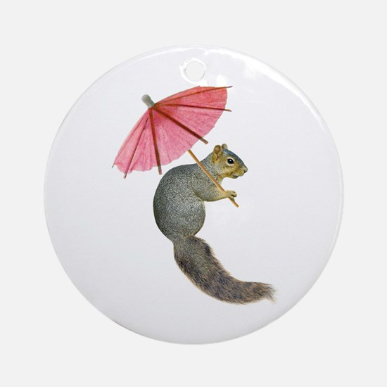 Squirrel Pink Parasol Round Ornament