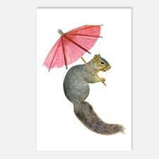 Squirrel Pink Parasol Postcards (Package of 8)