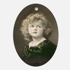 Hand-tinted Portrait Ceramic Oval Ornament