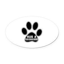 Hug A Polish Lowland Sheepdog Dog Oval Car Magnet