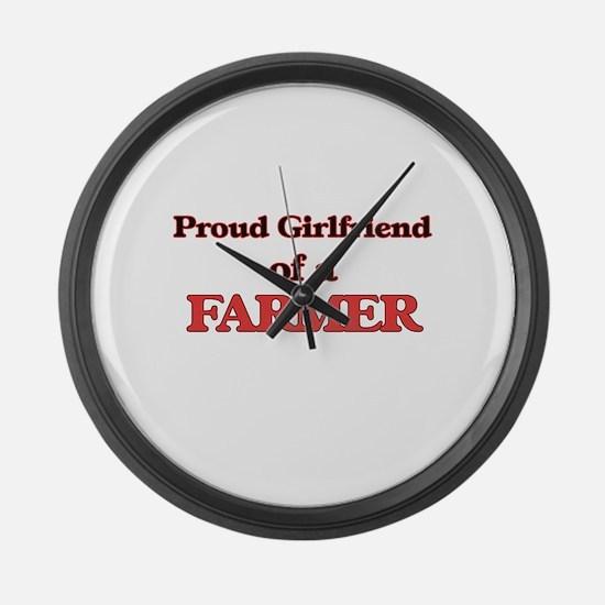 Proud Girlfriend of a Farmer Large Wall Clock