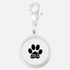 Hug A Jack Russell Terrier Dog Silver Round Charm