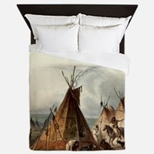 Assiniboin Native Skin Lodge Queen Duvet