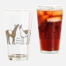 cute llamas bff Drinking Glass