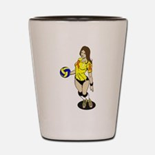SEXY VOLLEY GIRL ORANGE RIBBON Shot Glass