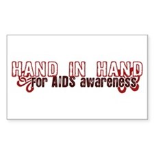 Hand in Hand for AIDS Awareness Sticker (Rectangul
