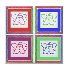4 Square Elephants Tile Coaster