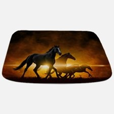 Wild Black Horses Bathmat