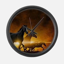 Wild Black Horses Large Wall Clock