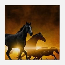Wild Black Horses Tile Coaster