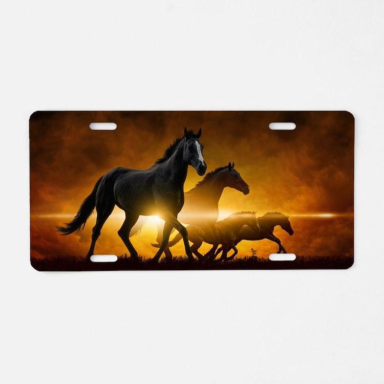Wild Black Horses Aluminum License Plate