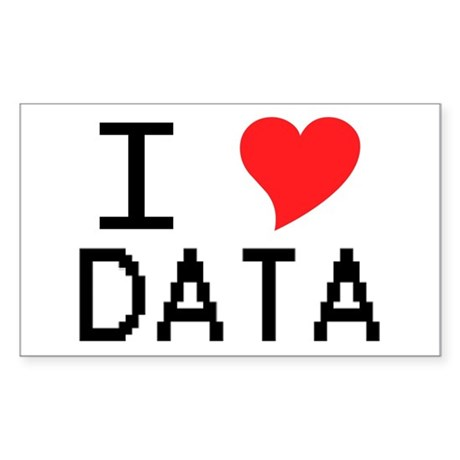 I Heart Data Rectangle Sticker