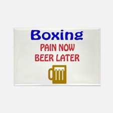 Boxing Pain now Beer later Rectangle Magnet