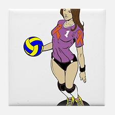 SEXY VOLLEY GIRL ORANGE RIBBON Tile Coaster