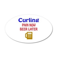 Curling Pain now Beer later Wall Decal